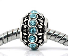 Blue Rhinestone March Birthstone Ring Bead fits Silver European Charm Bracelets