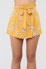 Size Small - Fashion Nova It's All Love Tie Waist Short Mustard High Rise Floral