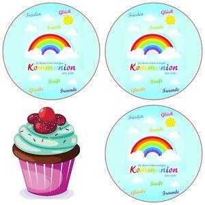Kommunion Eßbar Tortenaufleger Party Deko Tortenbild Muffin Geschenk Regenbogen