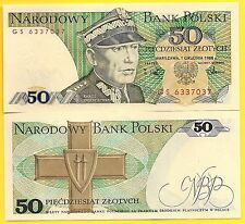 Poland P-142 50 Zlotych Year 1998 Uncirculated Banknote