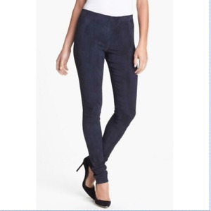 New THEORY Womens Adbelle  Slim Grey Suede Leather Leggings Pant $995 Free Ship