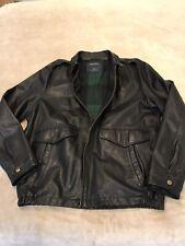 Men's Black Leather Jacket Size XL  Nautica  Tartan