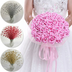 Pearl Beads Spray Wedding Bride Artificial Flowers Bouquet Home Party Decor
