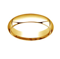 14K Yellow Gold 5mm High Dome Heavy Comfort-Fit Wedding Band Ring Size 13
