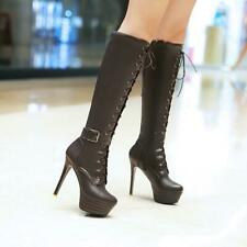 Womens Lace Up combat Stiletto High Heel Buckle Strap Riding Knee High Boots