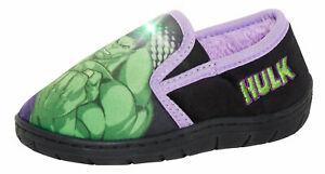 Boys Incredible Hulk Light Up Slippers Kids Marvel Slip On Flashing House Shoes