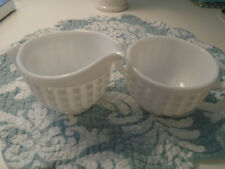 Imperial Glass Milk Glass Creamer and Sugar/ Square Pattern