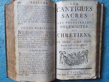 PSAUMES DE DAVID / CANTIQUES SACRES, 1766. Maroquin rouge, partitions musicales