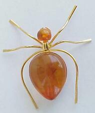 RUSSIA SOVIET BALTIC SEA AMBER GOLD SPIDER INSECT BROOCH JEWELRY  老琥珀 PIN ORDER