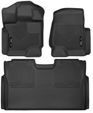 Husky X-Act Contour Floor Liners 15-20 Ford F-150 SuperCrew Front Rear Blk Long