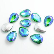 Hot Color AB10pcs Crystal Glass rhinestones Silver Bottom Teardrop beads 13x18mm