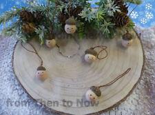 Set 6 Mini Acorn persone in legno elfo da appendere albero di Natale Decorazione KIDS Carino