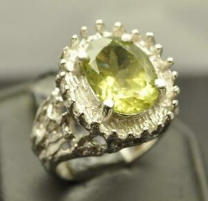 4.96 CT NATURAL PERIDOT OR OLIVINE STERLING SILVER MENS RING SIZE 9 LARGE GEM
