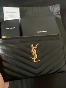 ysl black pouch pre owned gold hardware