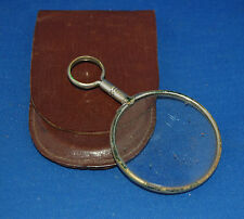 A useful antique Victorian metal framed loupe magnifying glass with hanging loop