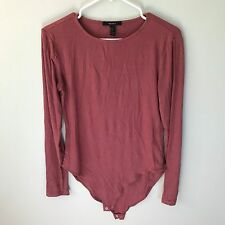 Forever 21 Women's Dusty Pink Long Sleeve Snap Button Body Suit Size L