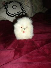 """Real Fur Little Puppy Dog White with Black Ears 4 1/2"""" tall Stuffed Animal"""