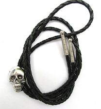 WESTERN BOLO TIE with CAST SKULL ANTIQUED ORNAMENT