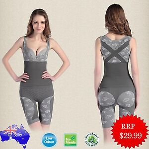 Natural Bamboo Lady Full Body Shaper Corset Tummy Trimmer Shapewear Slimmer