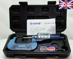 SHAHE High Precision Metric/Inch Digital Micrometer, electronic display 25-50mm