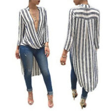 Women Autumn Long Sleeve Maxi Dress Deep V Neck Stylish Striped Shirt LJ Light Blue XL