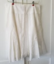 New York & Company White Flared layered Skirt with Crochet Panel Accents Size 10