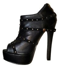 Sexy Black Open Toe Platform JustFab Stiletto Boots w/ Gold Studs US 6.5 EUR 37