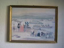 Am Hafen - sehr altes Bild 43 x 33cm Gemälde Druck