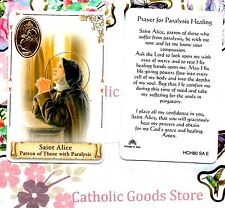 St. Saint  Alice with Prayer for Paralysis Healing - Plastic stock Holy Card