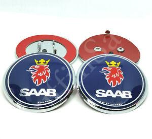 2 x Saab 93 9-3 Convertible Badge Set 1998-2003 Front Bonnet Rear Boot Emblem