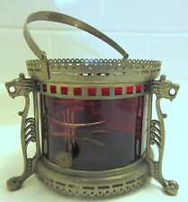 Antique Figural Victorian Spirit Warmer Stove Etched Ruby Glass Liner Lions