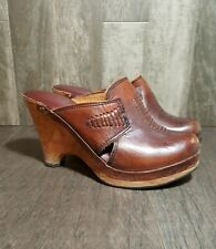 Vintage QualiCraft 1970s Wooden Sole Clogs Leather Congac 5B Brazil Made fashion