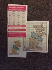 mini Swimming kangaroo pattern cross stitch chart only M9