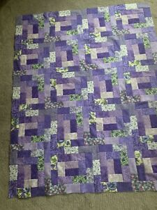 """Colorful Purple Log Cabin Quilt Top 36"""" X 45"""""""