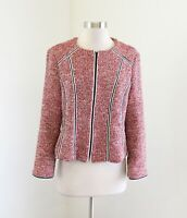 Nanette Lepore Red Black White Tweed Shaped Collarless Zip Front Blazer Jacket 8