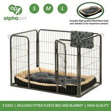 Alphapet Heavy Duty Dog Puppy Rabbit Whelping Playpen with Fleece Bed & Blanket