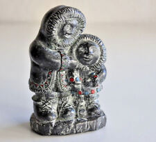 Eskimo Figure Hand Made The Wolf Sculptures Soapstone Couple in Canada