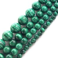 """Gemstone Natural Green Malachite Round Spacer Loose Beads 15"""" 4mm 6mm 8mm 10mm"""