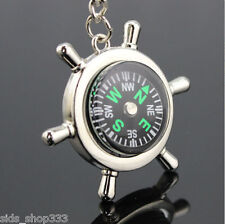 COMPASS Metal chrome Rudder keychain camping hiking outdoors US SELLER key chain