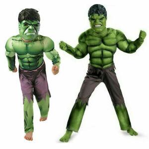 Deluxe Incredible Hulk 3-8 Boys Fancy Dress Kids Marvel Avengers Cosplay Costume