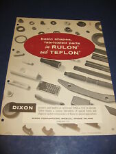 1961 Dixon Corp Catalog Asbestos Rulon Molding Plastics Furon Saint-Gobain