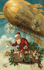 CHRISTMAS, SANTA CLAUS IN AN AIR SHIP, DIRIGIBLE, VINTAGE PIC, MAGNET