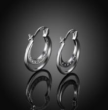 Womens Sterling Silver CZ Crystal 23mm Small Hoop Fashion Charm Earrings #EA119