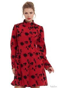 Voodoo Vixen Womens Joan Red Floral Coat Winter Warm Jackets Outwear Retro