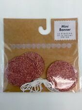 "Mini 24"" Party Banner Decor Craft Scrapbook Rose Gold Pink Glitter Circles 6 Pks"