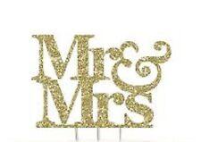 Gold sparkling plastic acrylic Silhouette  Mr & Mrs monogram