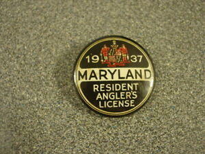 1937 Maryland Fishing License Button Pin Badge Resident Angler's License Rare