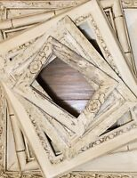 5 SHABBY FRAMES OLD IVORY Petite Empty Frames Aged Distressed Weathered Finish