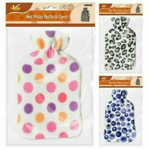 2L Hot Water Bottle with Soft Fleece Cover Natural Rubber Winter Best Gift
