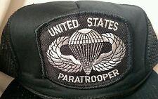 United States Paratrooper Black Baseball Trucker Hat Cap Snap Back Vintage